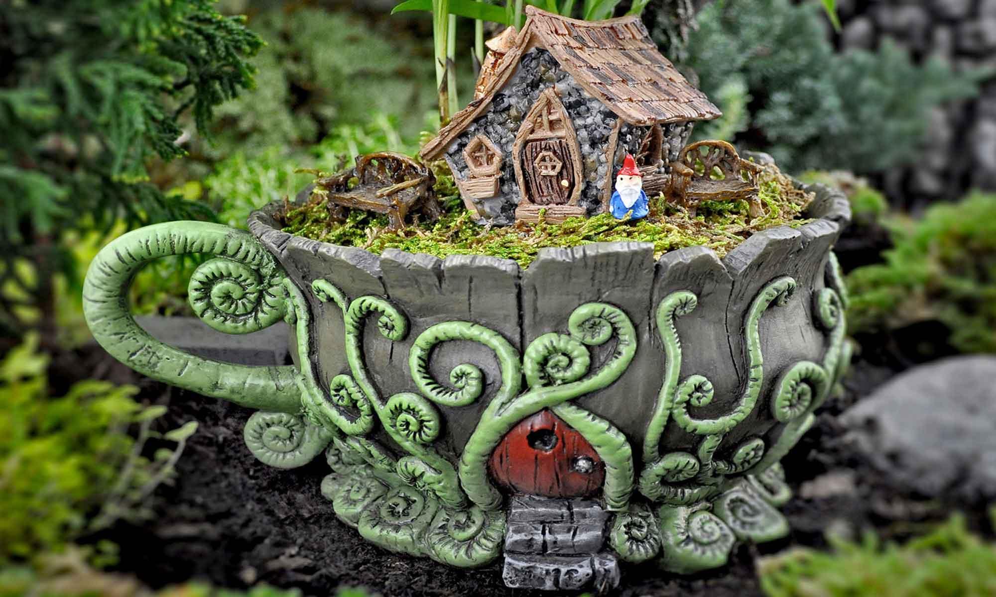 fairy garden teacup planter display